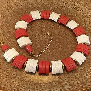 Jewelry - Vintage Red and White Mod Plastic Necklace